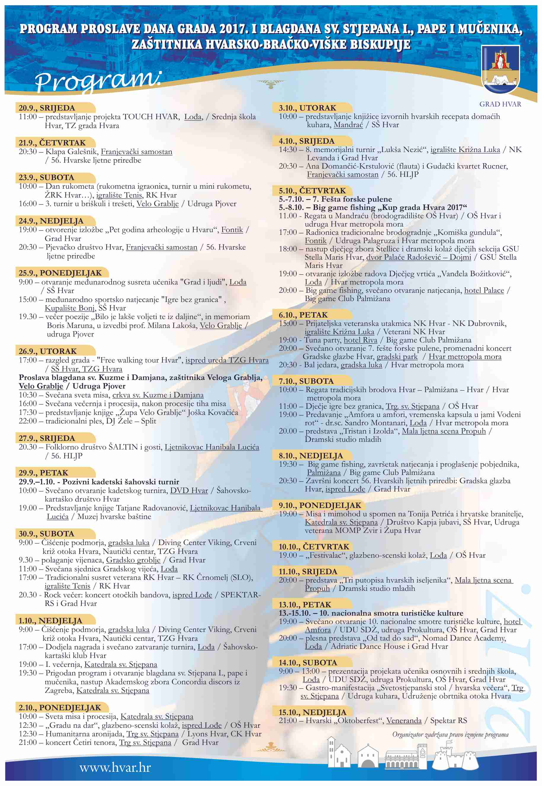 Hvar town celebrates st stephen 39 s day with rich program this october for St ivo swimming pool timetable