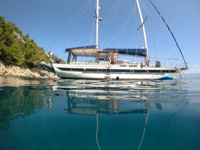 Sailing Croatia, anchored in a bay.jpg