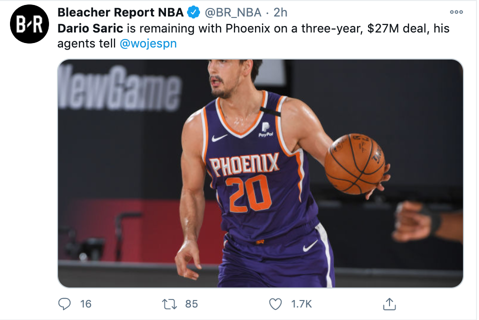 Dario Saric re-signs with the Phoenix Suns
