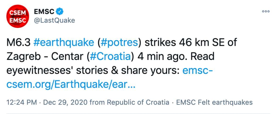 New 6 3 Earthquake 46 Km Se Of Zagreb Croatia Live Updates